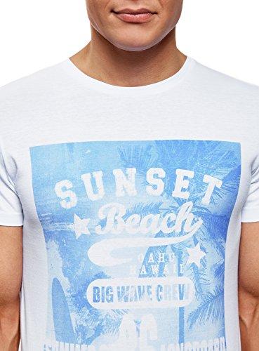 oodji Ultra Herren Bedrucktes T-Shirt Weiß (1012P)