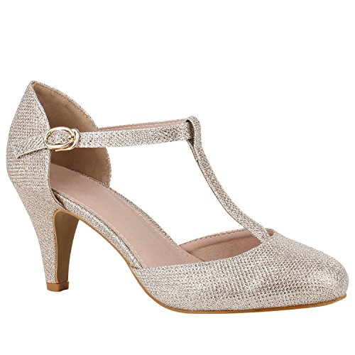 Damen Schuhe Pumps Mary Janes Blockabsatz High Heels T-Strap 156189 Gold T-Strap 36 Flandell