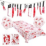Rorchio Halloween Scary Decorations, 1pcs Bloody Garland Tortune Weapons Banner,1pcs Bloody Print Halloween Tablecloth, 2pcs Bloody Clings Window Stickers and 10pcs Bloody Balloons for Halloween Haunted House Decor