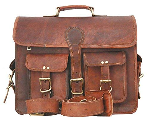 Borsa messenger, cartella per laptop e libri in vera pelle per uomini e donne, in stile vintage, fatta a mano, robusta e anticata