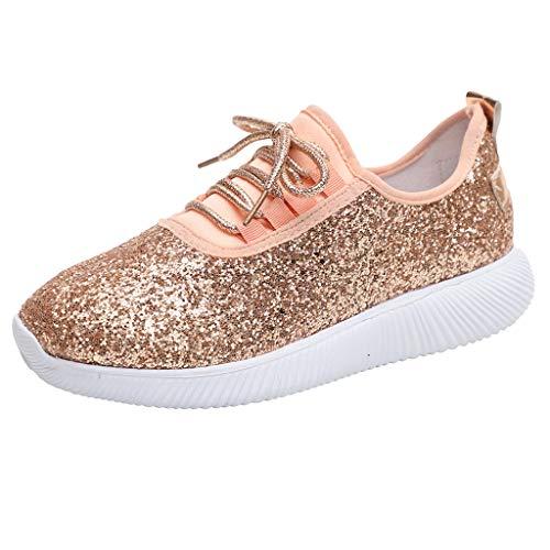 feiXIANG Schuhe Outdoor Sneakers Damen Atmungsaktiv beiläufige Sequin Laufen Schuhe Outdoor Anti-Rutsch Fitnessschuhe (Rosa,40)