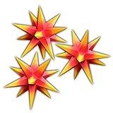 3er Set beleuchtete Sterne aus Papier, 3x rot mit gelben Spitzen, 3d Weihnachtssterne fürs Fenster - Bockelwitzer Stern (Art.Nr.203) inkl. Netzteil mit 3-fach-Verteiler, Fenster-Clip und Distanz-Stab, Durchmesser 19 cm, Papier, komplett handgefertigt, für den Innenbereich