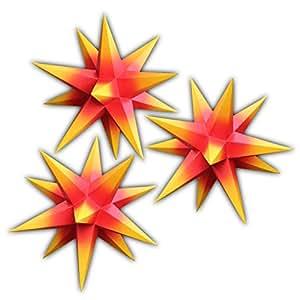 3er set beleuchtete sterne aus papier 3x rot mit gelben spitzen 3d weihnachtssterne. Black Bedroom Furniture Sets. Home Design Ideas