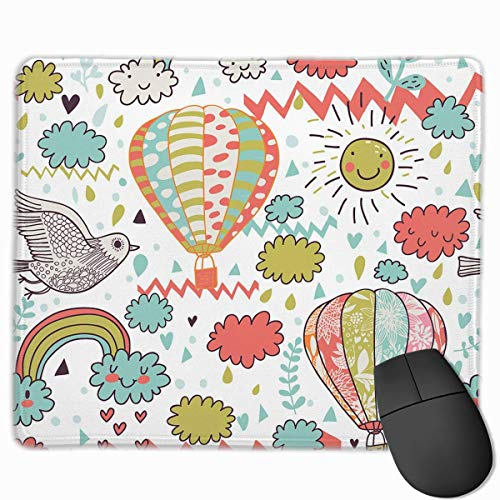Mouse Pad Hot Air Ballon Sunshine Rectangle Rubber Mousepad 11.81 X 9.84 Inch Gaming Mouse Pad with Black Lock Edge (Black Cat Marvel Hot)
