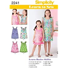 Simplicity 2241 K5 Learn to Sew - Patrones de Costura para Vestidos de niña (Tallas
