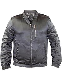 Mens Gaffer Shiny Bomber Jacket Grey 2XL