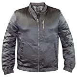 Mens Shiny Bomber Jacket Grey XL