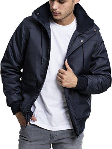 Urban Classics Herren Winterjacke Heavy Hooded Jacket, gefütterte Jacke mit abnehmbarer Kapuze mit Kunstfell-Futter - Farbe navy, Größe L (Mit Kapuze Befestigt Gefüttert)