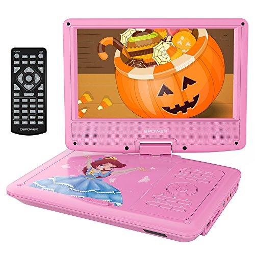 """DBPOWER 9.5"""" Lecteur DVD Portable, pile Rechargeable de 4 Heures, avec Ecran orientable, Compatibilité Carte SD et Interface USB, lit Directement les Formats AVI, RMVB, MP3 et JPEG (Rose)"""