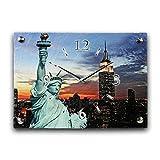New York Luxus Designer Wanduhr Funkuhr aus Schiefer *Made in Germany leise ohne ticken WS139FL