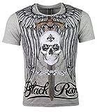 T-Shirt - Totenkopf - Skull - Schwert - Sword - mit Strass Steinen - in Verschiedenen Farben (XXL, grau)