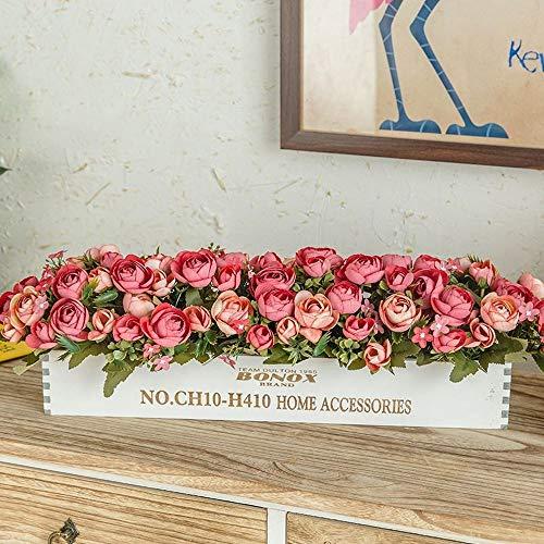 Jnseaol fiori artificiali con vaso incluso bagno da interno bouquet per esterno balcone grande rosa rossa della decorazione di natale della casa di nozze