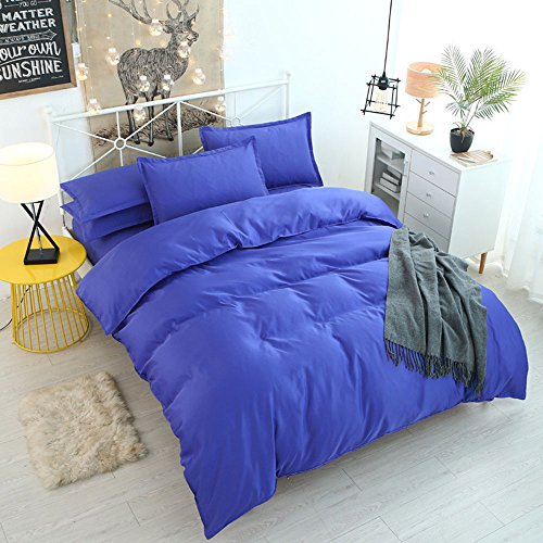 CHRISLZ Bettbezug Set, 4Stück in voller Größe stoßfest. Bettlaken-Set Bettwäsche-Bett-Größe blau (Ein Voller Für In Bettwäsche Größe Bett)