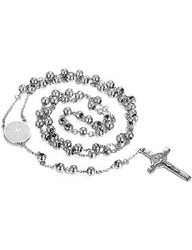 JewelryWe Schmuck Herren Damen Halskette, Klassische Vintage Bibel Jesus KreuzAnhänger mit 75cm Kette, Edelstahl...