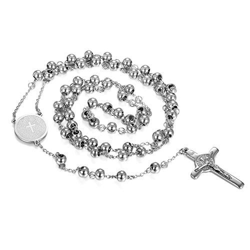 Damen Edelstahl Christian katholischen Religiöse Rosenkranz Kreuz Kruzifix Anhänger Lang Link Kugel Perlen Kette Halskette Silber