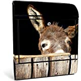 banjado - Schwarzer Design Briefkasten Zeitgsfach 38x42x11cm Wandbriefkasten mit Motiv Esel, Briefkasten schwarz ohne Standfuß