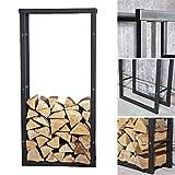 Melko robustes Kaminholzregal für Brenn- und Feuerholz, freistehender Holz-Ständer, aus Eisen, 150 x 80 cm - mit Gumminoppen für den Bodenschutz