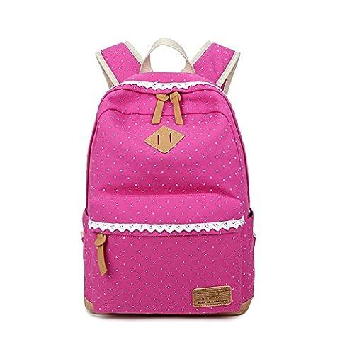 YSBER Canvas School Bag Sacs à dos de dentelle vintage Polka Dot Sweet pour les filles adolescentes Femmes(Rose Rouge)