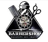 Barber Shop horloge murale vinyle design barbe moustache cheveux SalonPerfect cadeau art décorer maison style cadeau unique idée pour lui son,Black,12inch