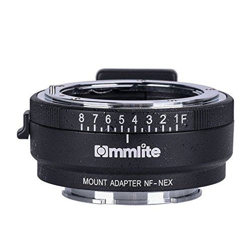 Commlite CM-NF-NEX manueller Fokus-Objektiv-Mount-Adapter für Nikon G, F, A, I, S, D-Objektiv auf Sony NEX E-Mount-Kamera Sony A7 A7R NEX-3 NEX-5 NEX-7 NEX-VG10 mit Blende wählen  (Nikon Sony Adapter)