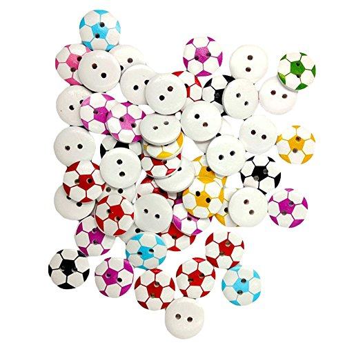 50 runde Form 2 Löcher Fußball-Holz Knopf zum Nähen Scrapbooking - zufällige Farbgeshig- -