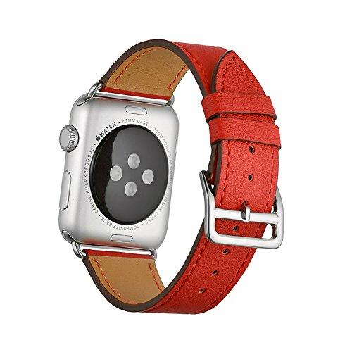 Apple Watch Correa, Wollpo®Cuero de la alta calidad Replacement Correa De Reloj Pulsera Watch Band De Reloj Replacement Strap watchband para 38mm Apple iWatch Reloj (Single Tour Rojo 42mm)
