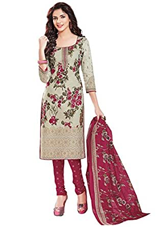 Ishin Synthetic White & Pink Printed Unstitched Salwar Suit Dress Material (Anarkali/Patiyala) With Dupatta