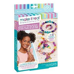 Make It Real - Joyería del Arco Iris sueño. Pulsera del Encanto de DIY Que Hace Kit para niñas. Artes y Oficios Kit para diseñar y Crear Pulseras del Encanto de Tween único y un Anillo