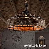 Luz de techo, Retro Hierro Industrial Vintage Loft luz de techo lámpara colgante lámpara E27, Φ40cm*H25cm Negro