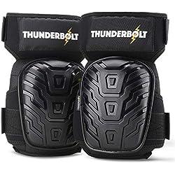 Thunderbolt Genouillères professionnelles de coussin de gel le plus confortable pour le travail, Sol, construction, jardinage et tactique Taille réelle Noir