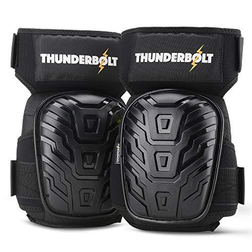 Knieschoner von Thunderbolt Professional Knieschützer Komfortabel Gelkissen-Knieschützer für Arbeit, Bau, Bodenbeläge, Gartenarbeiten mit starken Antirutschgurten -