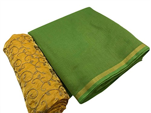 SilverStar Women's Green Color Chanderi Cotton Plain Sari With Yellow Color Embroidery...