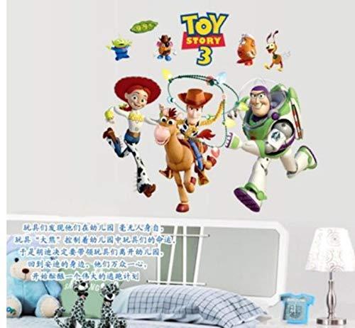 Toy Story 3 Cartoon Wandaufkleber Abnehmbare PVC Kunst Aufkleber Kinder Kinderzimmer Dekor (Kuchen Story Dekorationen Toy)