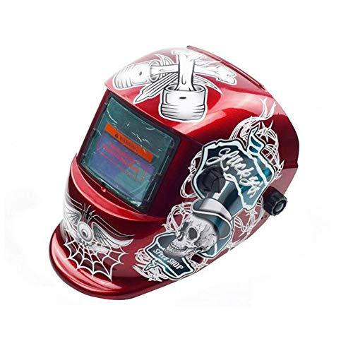 QIHELMET Schweißhelm Automatik Solar Schweißmaske mit 4 Sensoren, (Variable Abdunklung 4/9-13), austauschbare Objektive für alle gängigen Schweißtechniken Schweißschild,Red