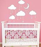 Adhesivos de pared con diseño de nubes, luna y estrellas para cuarto infantil, guardería o sala de juegos