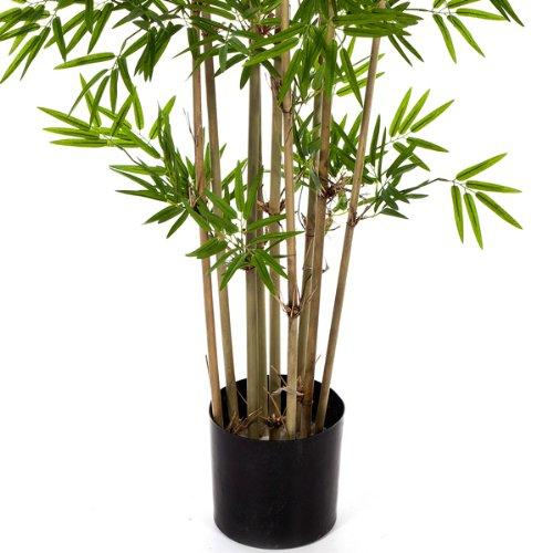 artplants Set 2 x Künstlicher Bambus YAN, mit 480 kleinen Blättern, 80 cm – naturgetreuer Kunstbambus