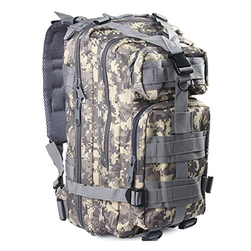 3P Assault Rucksack Camping Wandern Reise für Mann und Frauen Digital MOLLE 30L Rucksack Day Pack Military Outdoor Camo Tactical Packungen Nylon Wasserdicht, ACU (Jungen Camo Acu - Digital Army)