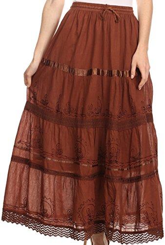 Sakkas Jupe Coton Taille Haute / Maxi / Longue Brodée Solide Gitane / Bohémienne Brun