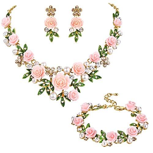 Ever Faith Kristall kuenstliche Perle Rose Blume Blatt Halskette Ohrringe Armband Set hell Rosa Gold-Ton (Rose Blume Schmuck-set)