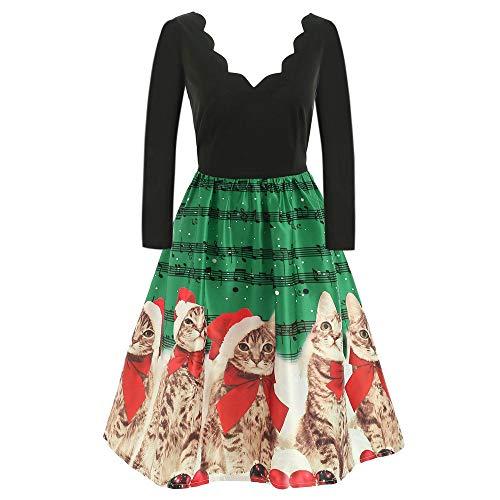 (MOIKA Frauen Lange Hülsen Weihnachtskatzen Musikalische Anmerkungen drucken Weinlese Aufflackern V-Ausschnitt Knee-Length Kleid)