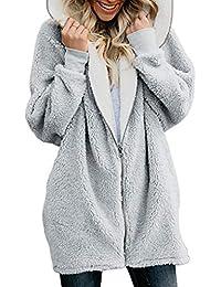 92af4f0e5c6e FNKDOR Manteaux Femmes Veste à Capuche d hiver Chaud Cardigan Furry  Blousons Occasionnels Outercoat Zippé Sweat-Shirts Noir Rose…
