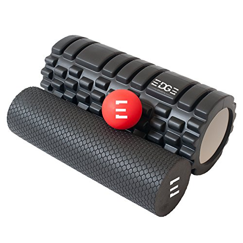 Edge Sports 2 in 1 Faszienrolle + Massageball | Ideal zur Massage von Wirbelsäule, Nacken, Schulter & bei Rückenschmerzen | Faszienrollen Set: Faszien Rolle + Faszienball / Igelball & Massagerolle (Sport-massage-roller)