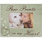De perro de raza amante regalo: huellas de on My Memorial de perro en forma de corazón marco de fotos