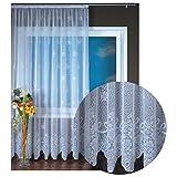 Gardine Jacquard Universalband Spitzenoptik Vorhang Blumenmuster Weiß, Auswahl: 500 x 245 cm, Design: Svenja