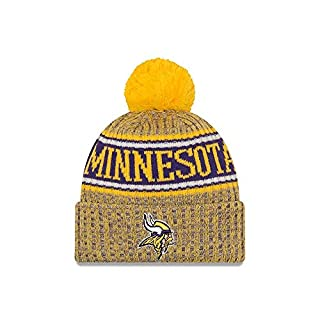 New Era Minnesota Vikings Beanie NFL 2018 Sideline Sport Reverse Knit Yellow/Purple - One-Size