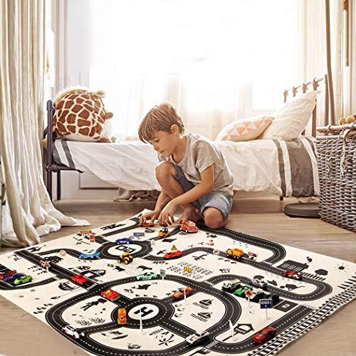 Fantiff Kinder Spielen Mat City Road Gebäude Parkplatz Karte Spiel Lernspielzeug Teppiche & Läufer 130 x 100 cm