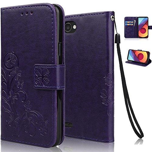 Funda LG Q6, achoTREE Afortunado Flor Carcasa para LG Q6, PU & TPU + [3 × suave Nano-tecnología película protectora] Púrpura 5.5 Pulgadas