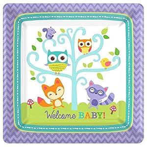 Amscan 59145226cm Woodland Bienvenido Platos de papel cuadrados (