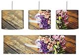 Blumenstrauß auf altem Holztisch inkl. Lampenfassung E27, Lampe mit Motivdruck, tolle Deckenlampe, Hängelampe, Pendelleuchte - Durchmesser 30cm - Dekoration mit Licht ideal für Wohnzimmer, Kinderzimmer, Schlafzimmer