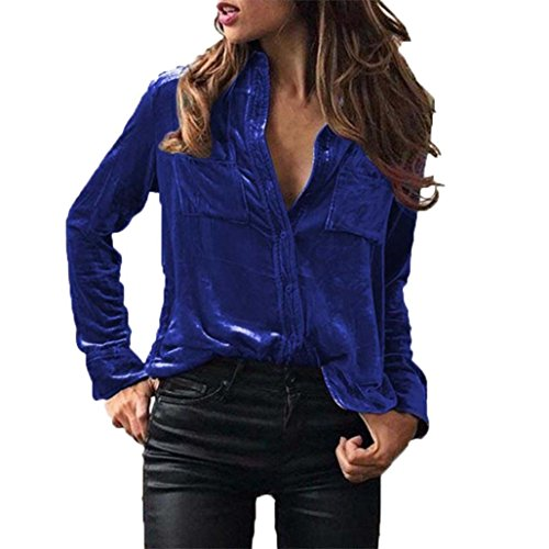 VJGOAL Damen Bluse, Damen Mode Solid Velvet Umlegekragen Langarm-T-Shirt Tops Frühling Party Bluse (M, Blau) (Baby Blau Doll Junior)